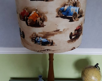 Vintage Racing Car Fabric Handmade Lampshade, Ceiling Lampshade, 20cm or 30cm, boys bedroom, boys decor, grand prix, Formula 1