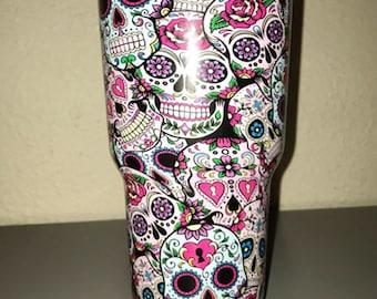 Yeti Tumbler Customizes Hydrodipped CupYeti Leopard Print - Sugar skull yeti cup