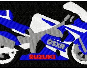 Motive embroidery machine Suzuki motorcycle embroidery design
