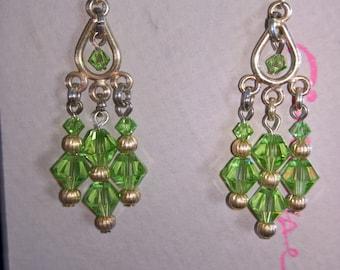 Green Swarovski dangle earrings