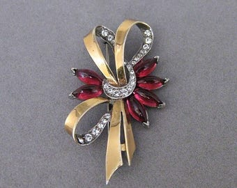 Vintage Boucher Phrygian Vermeil Sterling Silver Rhinestone And Red Glass Pin