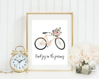 Floral Bike art print, find joy in the journey, typography art print, travel art print, floral bicycle art, journey quote, positive quote
