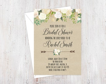 Bridal Shower Invitation Printable, Cream and Gold Invite, Floral Bridal Shower Invite, Elegant Shower, Cream Invitation, Rustic Invite
