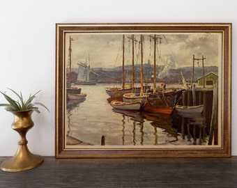 Vintage Art Print Sailboats at Dock, Sailing, Framed Art, Boat Art, Boho Decor