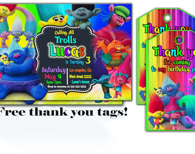 Trolls invitation FREE Thank You Tags Trolls invitations trolls invite trolls party trolls birthday trolls printable digital file