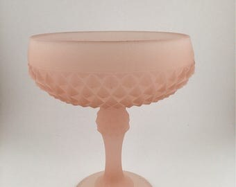 Vintage Indiana Pink Frosted Diamond Point Pedestal Compote