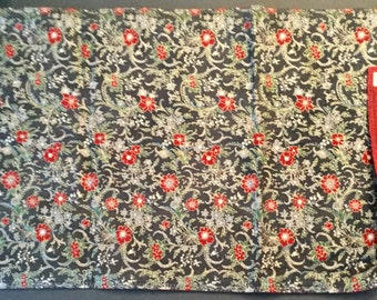 Table Runner (reversible) of Red Flowers & Silver Metallic Greenery