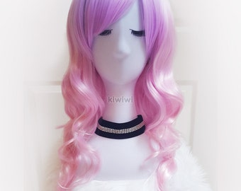 Pink ombre long curly wig [Sakura] // Fairy // Cosplay // Lolita // Anime