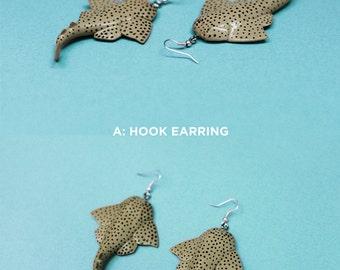 Pacific Angel Shark Earrings, Dangly, Novelty, Sea creature, retro, science, kitsch jewelry, aquatic, ocean deep sea