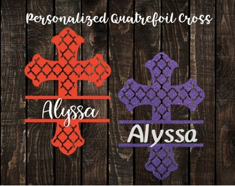 Quatrefoil Cross Decal with Name, Personalized Quatrefoil Cross Decal, Cross Decal with Name, Quatrefoil Patterned Cross