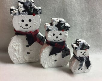 Wood Snowman Family - Set of 3 (#008)