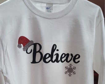 Believe with Santa hat/Christmas tshirt