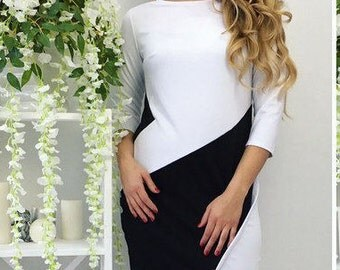 Asymmetric White Black Dress for any occasion Fashionable Charming Fancy Dress