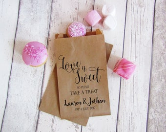 Love is Sweet - Take a treat candy bags - sweet trolley decor - sweetie table bags - personalized treat bags - love quote favors