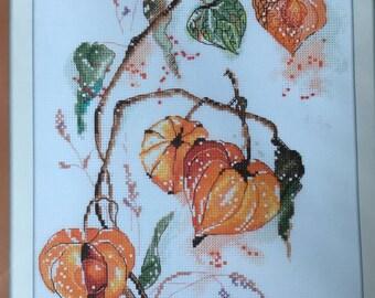 Flowers Cross Stitch Kit, Cape Gooseberries, Physalis by Panna, 21cm x 30cm