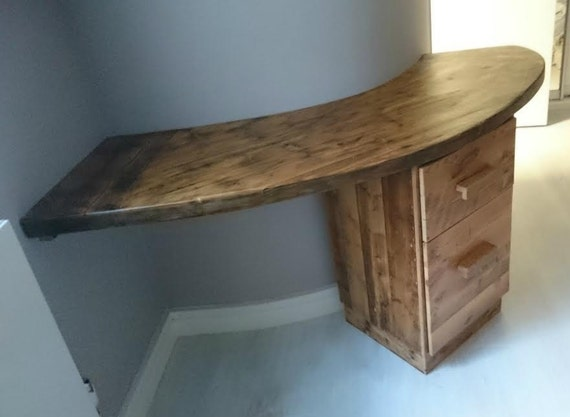 Reclaimed Pine Curved Computer Desk and Drawer unit
