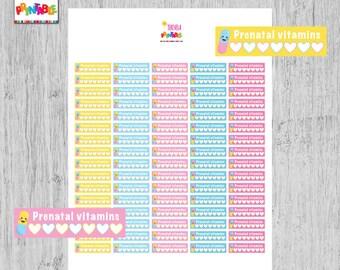 60% OFF prenatal vitamin tracker planner stickers, pill reminder stickers, pregnancy planner stickers, printable stickers, habit tracker