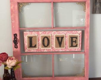 repurposed window frame in dusty pinkreclaimed window frameold window frameloverustic framerustic home decorrustic wedding decor