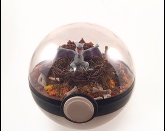 Large Pokeball Terrarium - Aerodactyl, Pokemon, Pokeball, Gift
