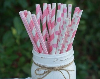 Pink Paper Straws, Baby Shower, Bridal Shower, Wedding