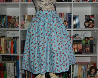 Fox Winter Blue Swing Skirt Gathered Flared Scarf Snow Snowflake Handmade Midcentury 50s Fifties 60s