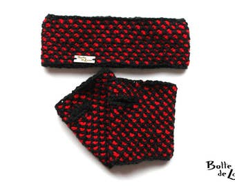 Ear warmers and mittens ARTIC black and red for women made with Tunisian Crochet