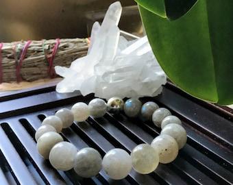 12mm Natural A++ Labradorite Gemstone Yoga Mala Beaded Bracelet/ Third Eye Chakra / Yoga Gift / Meditation bracelet/ Protection Bracelet.