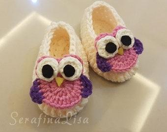Crochet Pattern Cute Mini Owl Babies Simple Shoes