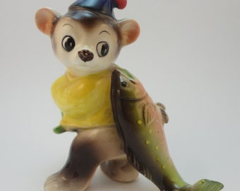Bear Cub Fishing, Fisherman Fishing Bear made in Japan