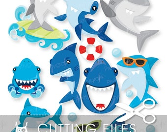 Shark cutting files, svg, dxf, pdf, eps included - shark party cutting files for cricut and cameo - Cutting Files SVG - CT945