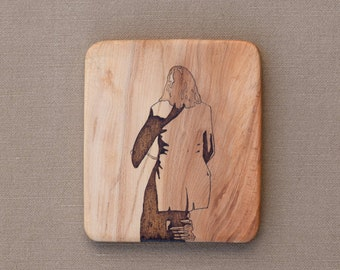 Drawing burnt on wood Small Artwork TitiaSibson