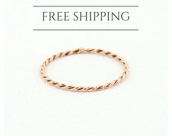 Rose Gold Wedding Band/ Twisted Wedding Band/ 14k Solid Gold Twist Ring/ Twisted Wedding Band/ Twist Stacking Ring/ Wedding Ring