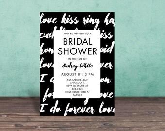 Bridal Shower Invitation, BLACK AND WHITE Bridal Shower Invitation, Shower Invite,Bride To Be, Stationary, Bridal Shower