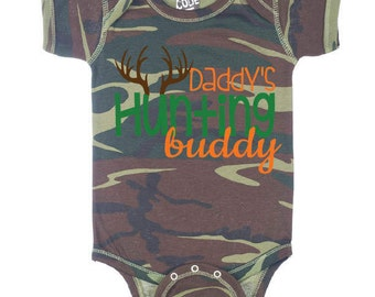 Daddy's Hunting Buddy Baby Camo Bodysuit; Hunting Baby Clothes; Baby Onesie; Bring Home Outfit