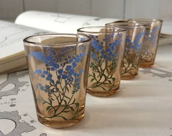 1950 enameled shot glasses.French vintage pink glasses with blue tranfer flowers.Collectible 50s shot glasses.Liquor Drinksware french gift.
