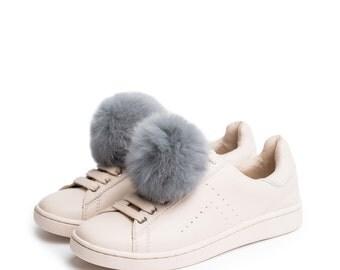 Pom Pom in Grey - Shoe Clips