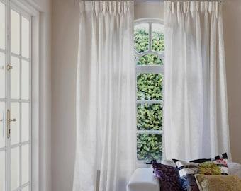 Pinch Pleat 52 Linen Curtains 3 Colors Panels Bedroom 100