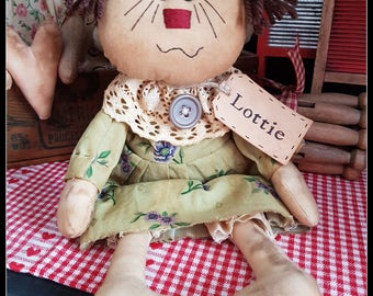 Primitive Rag Doll Lottie , Folk Art Doll, OOAK, Primitive Raggedy , HANDMADE