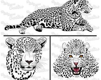 Feline Jaguar svg cut, vector art digital vinyl, vector cut design, instant digital download, silhouette of big feline jaguar Cameo cut, dxf