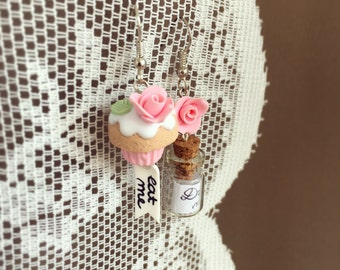 Alice in wonderland inspired Earrings, with Eat Me, Drink Me Cupcake Roses Bottle, Miniature Food