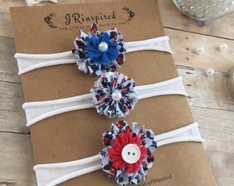 Baby headband, fabric flower, fabric headband, red, white, blue, button, Memorial Day, Fourth of July, Labor Day