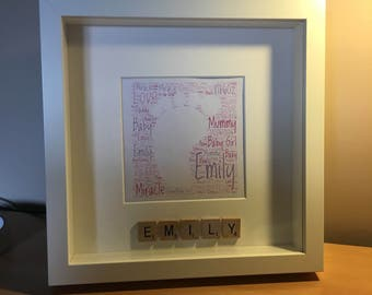 Personalised Baby Girl Word Art with Scrabble Name