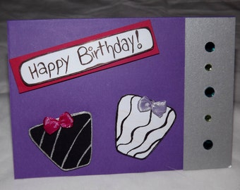 Birthday Card. Purple. Presents.