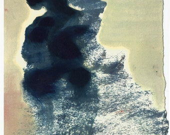 Waterfall abstraction (Original, small size, oil on paper painting) by Dai Luk