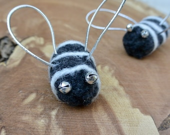 Felted Wool Catnip Bee Cat Toy with Mini Jingle Bell Eyes
