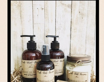 GIFT SET, all natural, skin care, pamper, hand liquid soap, hand lotion, soy wax candle, lip balm, made to order, handcrafted
