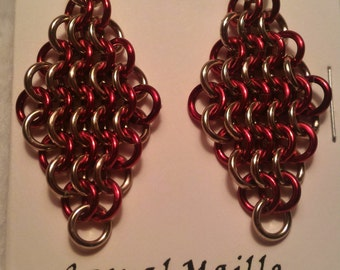 Champagne/Red Chain Maille (European 4-1) Earrings
