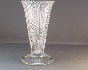 Antique Pressed Glass Vase  Saw Tooth Rim