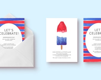 4th of July/Independence Day Themed Party or BBQ Invitation (Red, White, Blue, 5x7 Size, Digital/Printable or Printed)