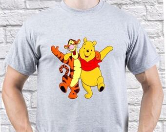 Winnie the Pooh/ Pooh with Tigger/ Mens tshirt/ Winnie the Pooh tee/ Tigger tshirt/ Tigger shirt/ Walt Disney tshirt/ Funny tshirt/ (WP02)